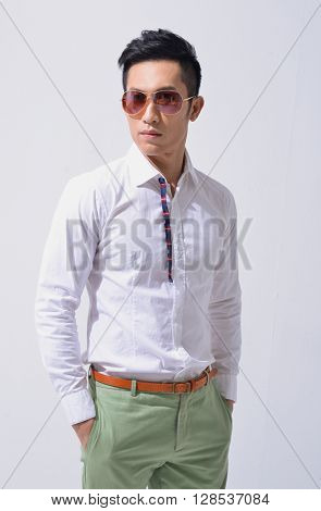Handsome businessman in sunglasses portrait