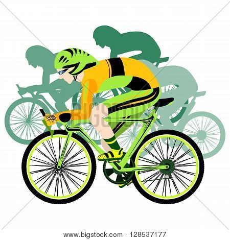Sport cycling . Competition professional riders . Sport. Mountain bikes. Vector illustration.