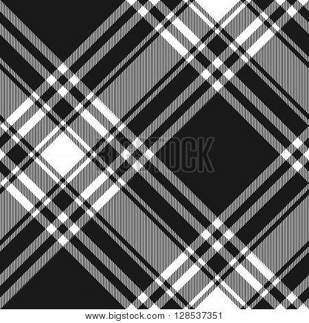 Menzies tartan black kilt diagonal fabric texture seamless pattern.Vector illustration. EPS 10. No transparency. No gradients.