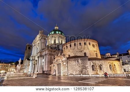 Old and New Cathedrals of Brescia in the evening Italy