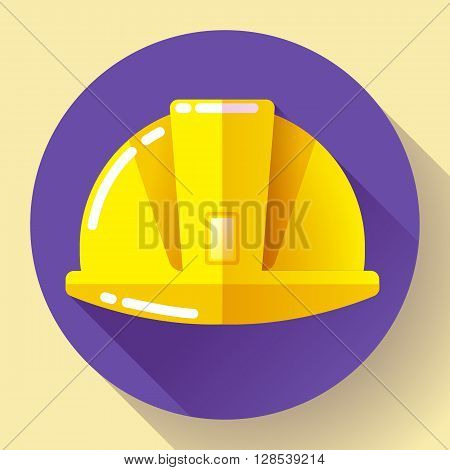 Yellow construction worker helmet icon. Flat design style