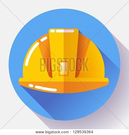Orange construction worker helmet icon. Flat design style