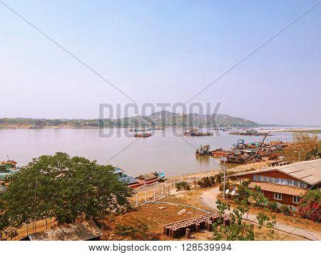 Landscape view from Tadar Road Bridge Sagaing Irrawaddy River approaching Mandalay Myanmar