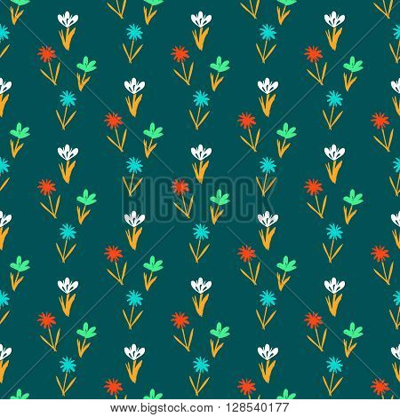 Ditsy spring floral pattern with small hand drawn flowers on green background. Seamless vector vintage texture. Colorful artistic grunge print for spring summer fashion or wedding invitation