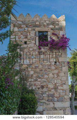 Ruins of tower in Kos town, full of flowers.