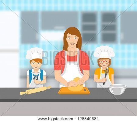 Mother and kids bake together at a kitchen. Mom kneads pastry happy little son and daughter help her. Family baking home cookies pie or cake. Vector flat illustration. Leisure activity background