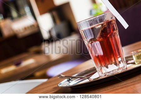 Red Fruit Tea In Tearoom