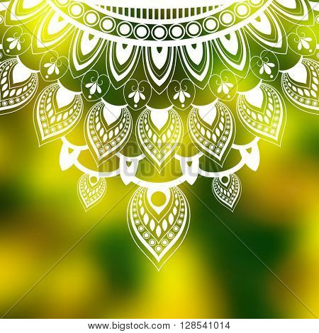 mandala elements concept design on blurred background, eps10 vector
