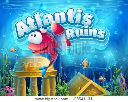 Atlantis ruins funny fish - vector illustration boot screen to the computer game. Bright background image to create original video or web games graphic design screen savers.