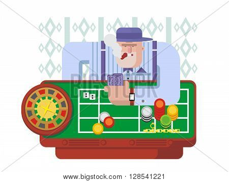 Gambler playing roulette. Luck chance, gambling game, casino and fortune, leisure and success risk. Flat vector illustration