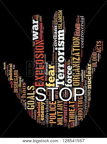 Stop Terrorism, Stop War, Stop Violence, Word Cloud Concept 3