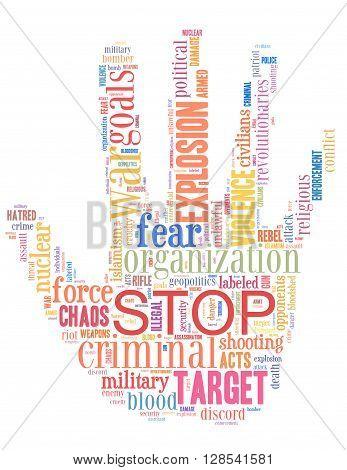 Stop Terrorism, Stop War, Stop Violence, Word Cloud Concept 5