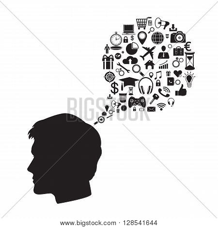 Silhouette of business man with an idea in the form of business icons on white background. Vector illustration.