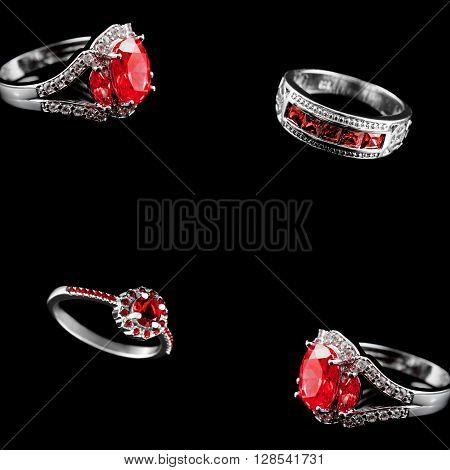 Luxury jewelry. White gold or silver engagement rings with colored gemstone closeup on black background with space for your text. Selective focus