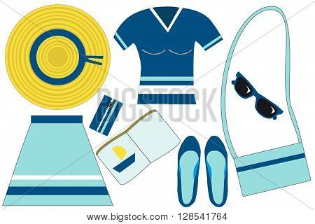 hat, blue t-shirt, skirt, mobile phone, bag, sunglasses, shoes, book, marine woman set