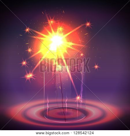 Sparkler in the glass. Holiday light in the dark. Vector illustration.