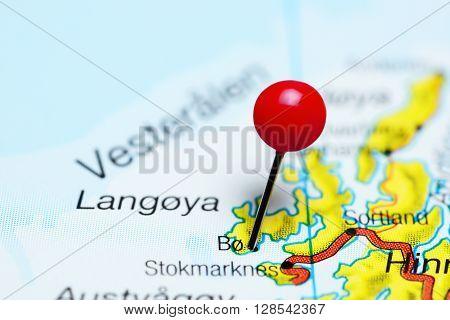 Bo pinned on a map of Norway, Vesteralen region