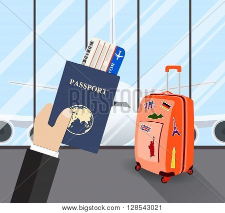 Travel, business trip concept. Businessman holding passport and Boarding Pass in airport with suitcase and a plane in background. Vector illustration in flat design. travel and vacations concept