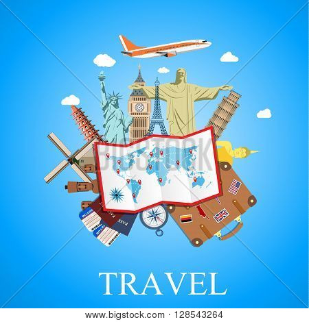 Travel by plane. World Travel. Planning summer vacations. Summer holiday. Tourism and vacation theme. vector illustration in flat design. travel and vacations concept