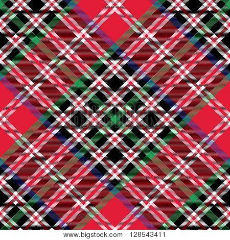 Kemp tartan fabric texture check diagonal pattern seamless.Vector illustration. EPS 10. No transparency. No gradients.