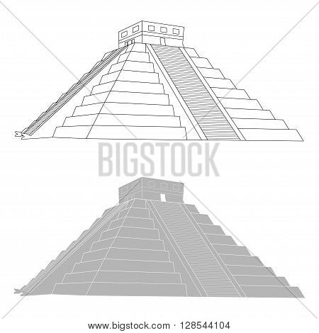 Chichen itza mexican mayan pyramid on white background, vector illustration
