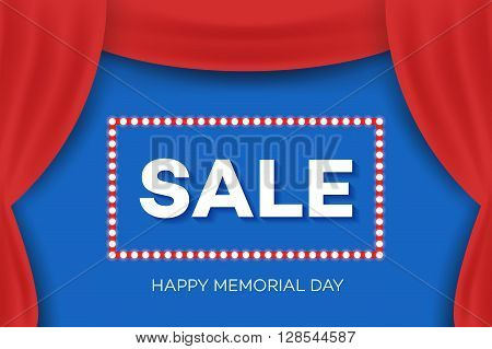 Happy Memorial Day Greeting Card. Sale Invitation Design.
