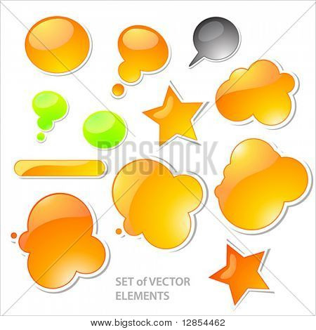 Collection of brightly colored, glossy web elements.