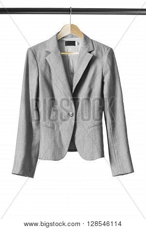 Gray jacket on wooden clothes rack on white background