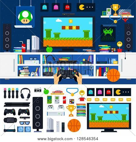 Gamer tools vector flat illustrations. Gamer room with different gadgets and other tools. Technology and modern life concept. Computer, headphones, joystick, medals isolated on white background
