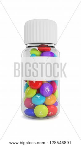 Bottle With Elements Pills Isolated Over White