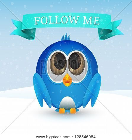 cute blue bird on snow and with follow me text and ribbon