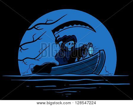 Vector illustration of grim reaper riding a boat