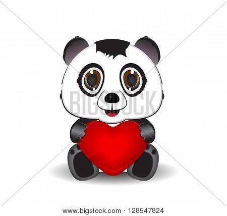 cute cartoon panda and heart symbol illustration