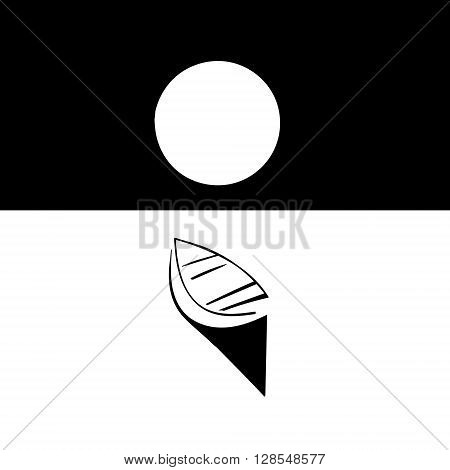 Boat in the moonlight. Transportation boat theme elements