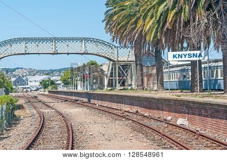KNYSNA SOUTH AFRICA - MARCH 3 2016: The historic station in Knysna is adjacent to the waterfront shopping and restaurant complex