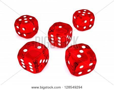 five red 3d dices over white background