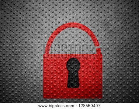 Broken red lock on a metal background