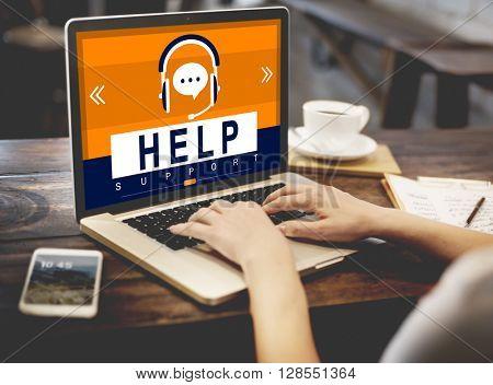 HElp Helpline Helping Hand Headphones Advice Concept