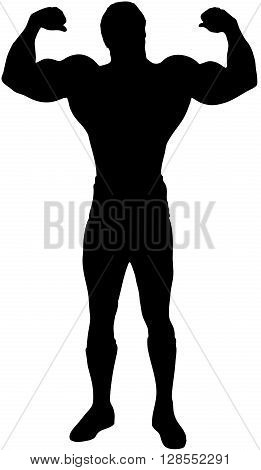 Vector black silhouette of body builder showing his muscles