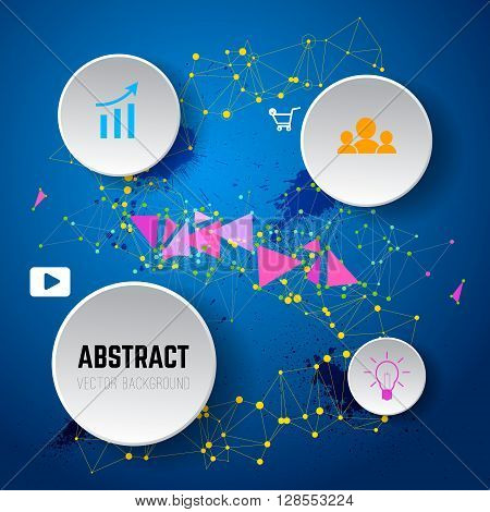 Abstract vector background from dots and lines. Infographic template. Company structure scheme. Geometric Polygonal Elements. Scientific Future Technology Concept. Design element in vector.