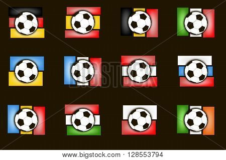 Flags Country And  Soccer Balls