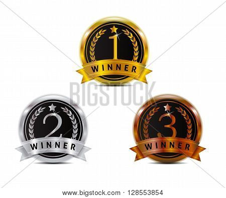 gold silver and bronze badge for winner