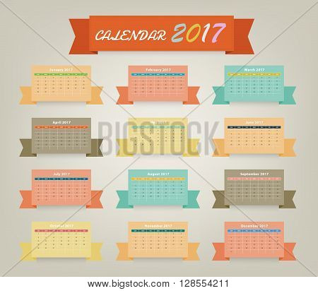 Calendar 2017 Variety Color On Ribbon Design