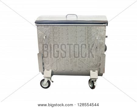 New metallic garbage container isolated over white background