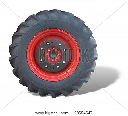 Tractor red tire wheel isolated over white background