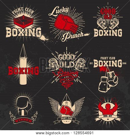 Boxing. Boxing club labels on grunge background. T-shirt print template. Design elements for logo labe emblem.