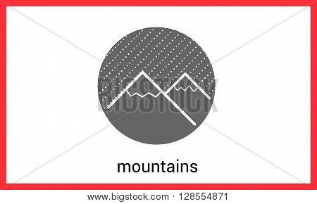 Mountain peaks contour outline vector icon. Hills linear pictogram