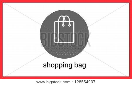 Shopping bag contour outline vector icon. Packet linear pictogram