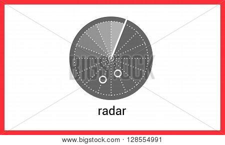 Radar contour outline vector icon. Sonar linear pictogram