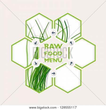 Abstract hexagons for your text and raw food menu headline